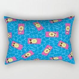 Avocados Lounging in the Pool Pattern Rectangular Pillow