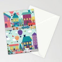 Cute Neighborhood Street Kids Pattern Stationery Cards