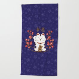 Maneki-neko cat with good luck kanji Beach Towel