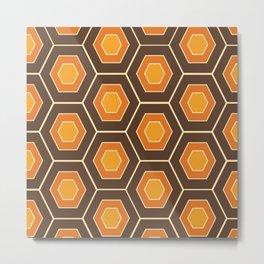 Funky Hexagonal Retro Pattern Design #1 Metal Print
