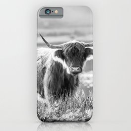 Scottish Highland Cattle in black and white iPhone Case