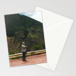 Flute man by the side of the road - Candid Travel, South America Stationery Cards