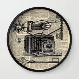 nautical compass dictionary print steampunk skeleton keys antique camera Wall Clock