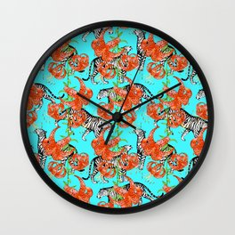 Tigers and Tiger Lilies (Blue Background) Wall Clock