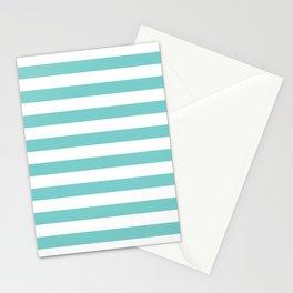Horizontal Aqua Stripes Stationery Cards