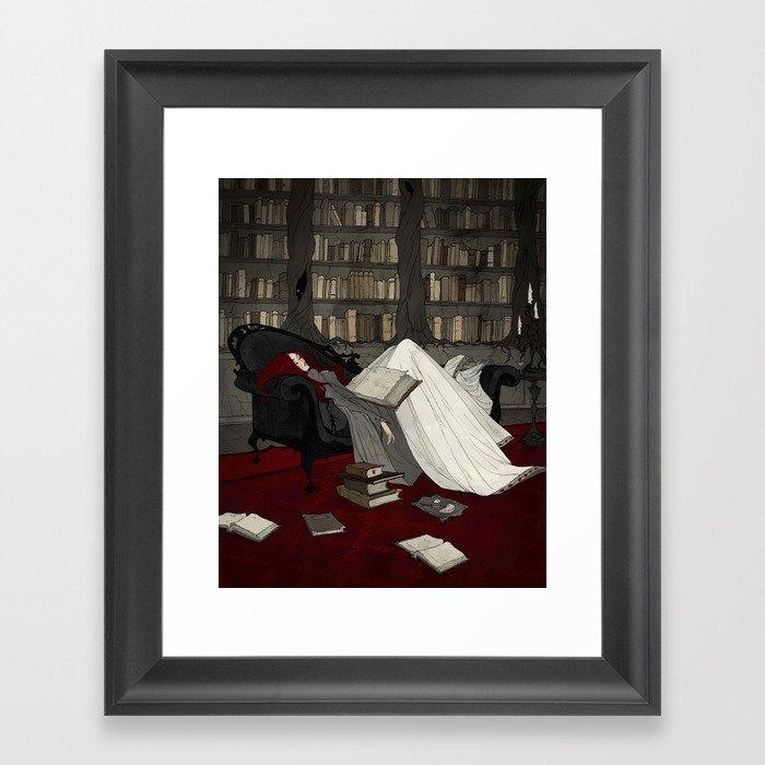 Asleep in the Library Gerahmter Kunstdruck