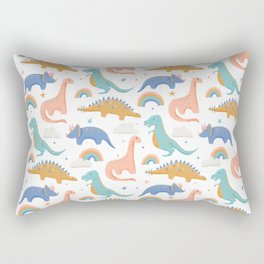 Dinosaurs + Rainbows in Blush Pink + Gold + Blue Rectangular Pillow