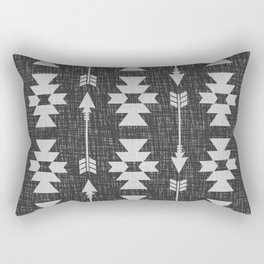 Southwestern Arrow Pattern 238 Black Grey and White Rectangular Pillow