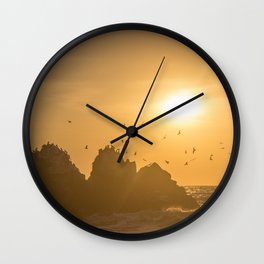Sunset and Birds Flying Wall Clock