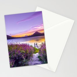 BROWN WOODEN DOCK BETWEEN LAVENDER FLOWER FIELD NEAR BODY OF WATER DURING GOLDEN HOUR Stationery Cards
