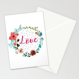 Pretty love floral wreath Stationery Cards