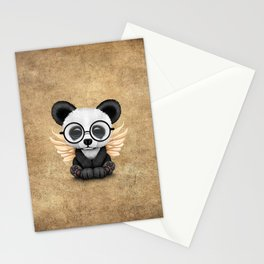 Cute Panda Cub with Fairy Wings and Glasses Stationery Cards