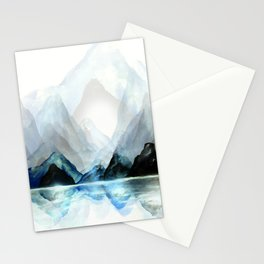 Mountain#1: a minimal, abstract of Milford Sound in New Zealand mixed media painting Stationery Cards
