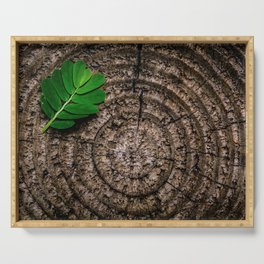 Green leaf Brown wood Serving Tray