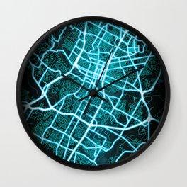 Austin, TX, USA, Blue, White, Neon, Glow, City, Map Wall Clock