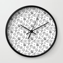 Immune Cells - Black and White Wall Clock