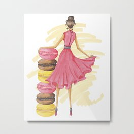 Girl With Macarons Pink Metal Print
