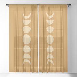 Minimal Moon Phases - Orange Sheer Curtain
