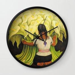 The Cuauhnāhuac Calla Lily Vendor by Diego Rivera Wall Clock