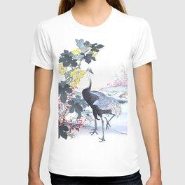 Kono Bairei - Couple Of Cranes And Yellow Flowers - Vintage Japanese Woodblock Print Art T-shirt