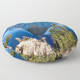 Deep Blue - Crater Lake on Summer Day in Oregon Floor Pillow