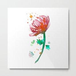 Warm Watercolour Fiordland Flower Metal Print