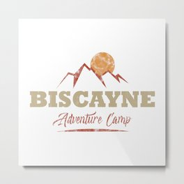 Biscayne Camping  TShirt Adventure Camp Shirt Camper Gift Idea Metal Print