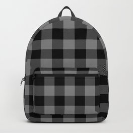 Gray and Black Lumberjack Buffalo Plaid Fabric Backpack