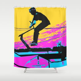 Free Falling - Stunt Scooter Rider Shower Curtain