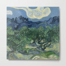 Fun Neck Gaiter Vincent Van Gogh Olive Trees Neck Gator Metal Print
