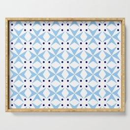 star and polka dot 4 - blue Serving Tray