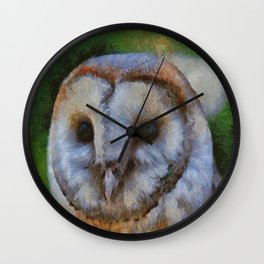 Tawny Owl In The Style of Camille Wall Clock