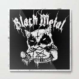 Grim Black Metal Corpse Paint Racoon! Metal Print