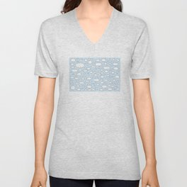 Celestial sky with little clouds of caricatures Unisex V-Neck