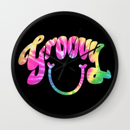 Groovy Smile // Tie-dye Black Fun Retro 70s Hippie Vibes Green Yellow Pink Lettering Typography Art Wall Clock