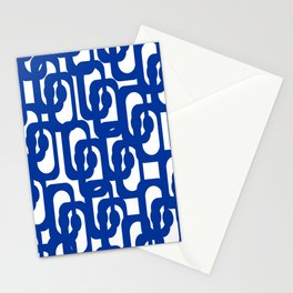 Bright Blue and White Mid-century Modern Loop Pattern  Stationery Cards