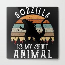 Godzilla Is My Spirit Animal Retro Vintage Metal Print