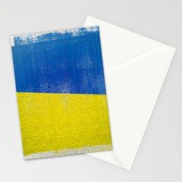 Ukrainian Distressed Halftone Denim Flag Stationery Cards