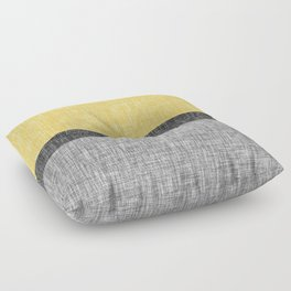Yellow Grey and Black Section Stripe and Graphic Burlap Print Floor Pillow