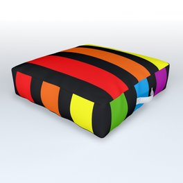 Rainbow & Black colorful stripes Outdoor Floor Cushion