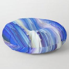 Frozen blue waterfall abstract digital painting Floor Pillow