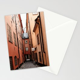 Stockholm, Sweden | Gamla Stan | old city centre | alley | old buildings | colored houses | bright colors | city print | travel photography | travel print | art print  Stationery Cards