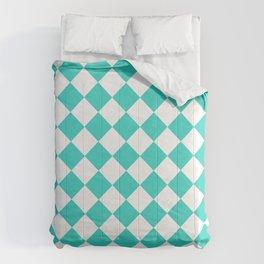 Diamonds - White and Turquoise Comforters