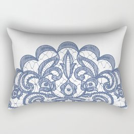 Royal Blue Lace Print Floral Navy Blue Sea White Rectangular Pillow
