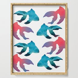 Pattern Oil Painting Abstract Tropical Fish Serving Tray