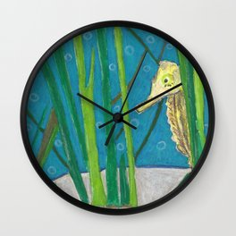 Peekaboo Seahorse Wall Clock