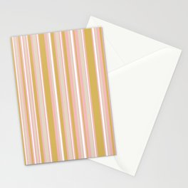 Splendid Stripes - Retro Modern Stripe Pattern in Gold, Pink, White, and Mushroom Stationery Cards