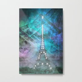Illuminated Pop Art Eiffel Tower | Graphic Style Metal Print