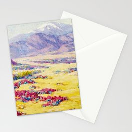 California Desert Wildflowers with Mountains Beyond by Benjamin Brown Stationery Cards