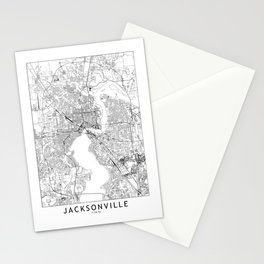 Jacksonville White Map Stationery Cards